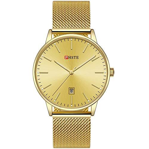 PHSTE Mens Watches 7.2mm Slim Simple Analog Quartz Date Luminous Waterproof Thin Face Gold Plated Steel Mesh Band Casual Dress Wrist Watch Golden