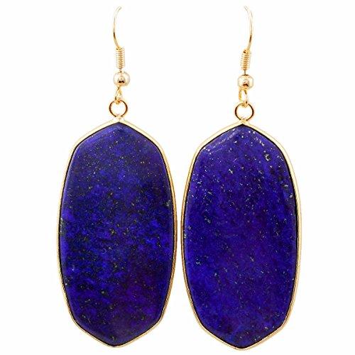 TUMBEELLUWA Crystal Quartz Stone Dangle Hook Earrings Oval Gold Plated, Lapis Lazuli ()