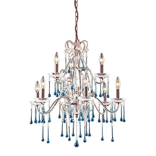 Opulence 9 Light (Alumbrada Collection Opulence 9 Light Chandelier In Rust And Aqua Crystal)