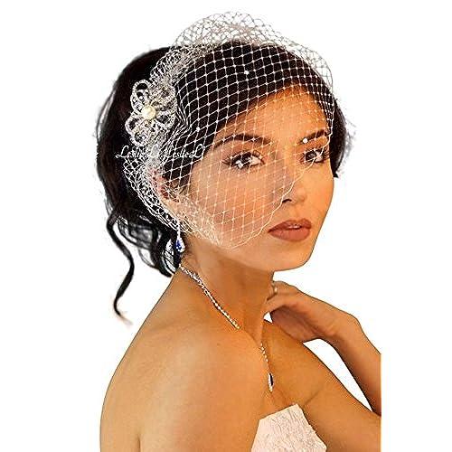 Leslie Li Womens Pearl Brooch Bridal Birdcage Veil One Size Ivory 23 30624
