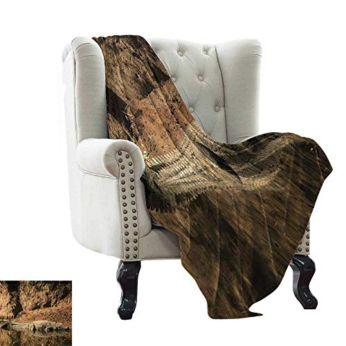 - Flannel Fleece Reversible Blanket Africa,Nile Crocodile Swimming in The River Rock Cliffs Tanzania Hunter Geography Print,Brown Tan All Season Light Weight Living Room/Bedroom 50