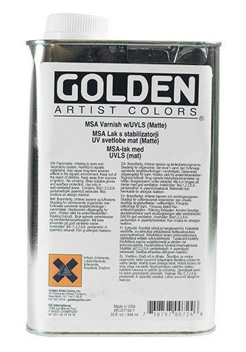 Golden MSA Matte Varnish with UVLS - 32 oz Bottle by Golden Artist Colors