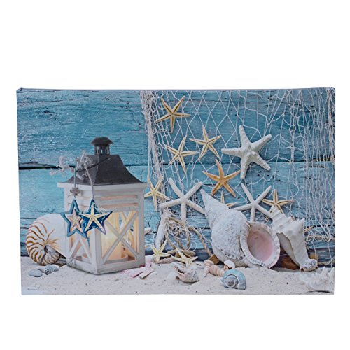 Beachcombers SS-BCS-02244 Shells/Candles Canvas with 1 LED