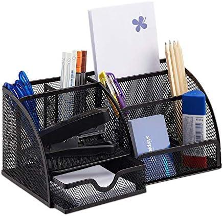 Schreibtischorganizer 6 Ablagen, kompakter Büroorganizer Metall, Schublade, Zettehalter, Stifteköcher, schwarz