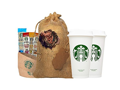 Starbucks Travel Coffee Reusable Recyclable Cups With Lids, Sleeves, Via Instant Coffee Sampler Gift Set Bundle With Burlap Bag, Rustic Gifts For Mom, Coffee Lovers, Birthdays, Anniversaries. by Starbucks