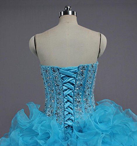 Belles Robes De Fiançailles Robe De Bal Volants Débutante De Fourmis Femmes Bleu Clair