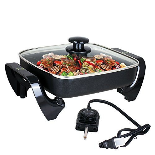 ZZ SK577 10 by 10 Inch Non-Stick Electric Skillet with Glass
