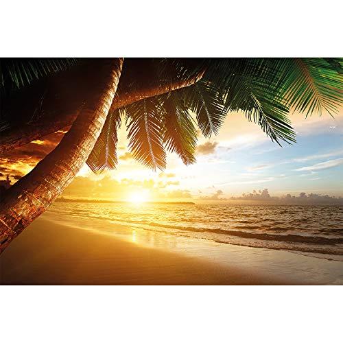 GREAT ART XXL Wallpaper - Sunset at The Sea - Wall Mural Decoration Caribbean Palm Beach Paradise Beach Sun Vacation Travel Nature Island - 5 Parts (82.7 x 55 Inch / 210 x 140 cm)