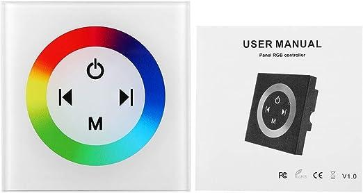 Regulador Led M/ás Oscuro para el Color Que Cambia la Tira de LED Controlador Led de Panel T/áctil 1# Luces de Panel etc. Regulador LED RGB de Color Montado en la Pared