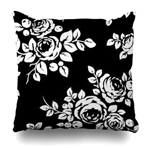 - InnoDIY Throw Pillow Covers Black White Vintage Pattern Flowers Monochrome Floral Rose Camellia Leaf Bud Leaves Buds Leafbeauty Pillowslip Square Size 18 x 18 Inches Cushion Cases Pillowcases