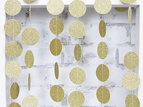 Skoye  Circle Dots Paper Party Garland Backdrop,Christmas Garland, Circle Garland, Gold Garland, Paper Garland - Champagne Gold Glitter(2 PCS)  - Circle Dot Star
