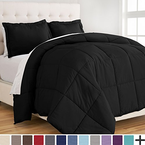 Contemporary Bedding Ensembles - Bare Home Ultra-Soft Premium 1800 Series Goose Down Alternative Comforter Set - Hypoallergenic - All Season - Plush Siliconized Fiberfill (Full/Queen, Black)