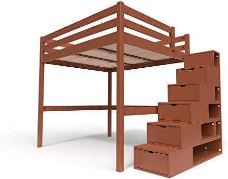 ABC MEUBLES - Cama Alta Sylvia con Escalera Cubo - Cube - Chocolate, 160x200: Amazon.es: Hogar