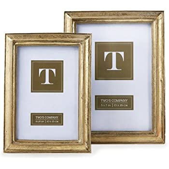 Amazon Twos Company Gold Leaf Photo Frames Includes 2 Sizes