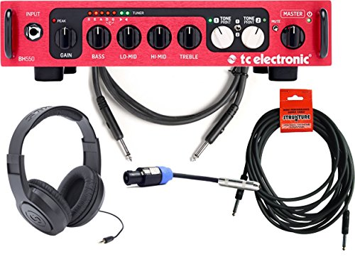 TC Electronic BH550 550-Watt Bass Amp Head with Cables and Headphones by TC Electronic