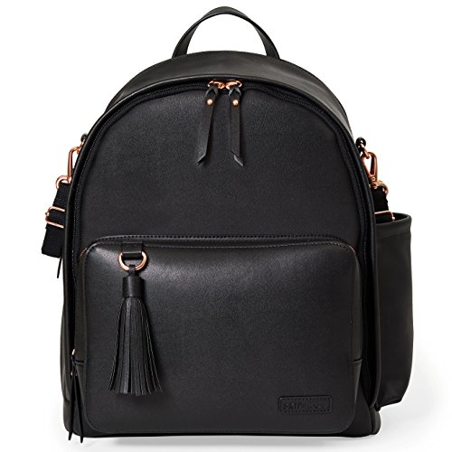Skip Hop Diaper Bag Backpack, Greenwich Multi-Function Baby Travel Bag with Changing Pad and Stroller Straps, Vegan Leather, Black with Rose Gold Trim