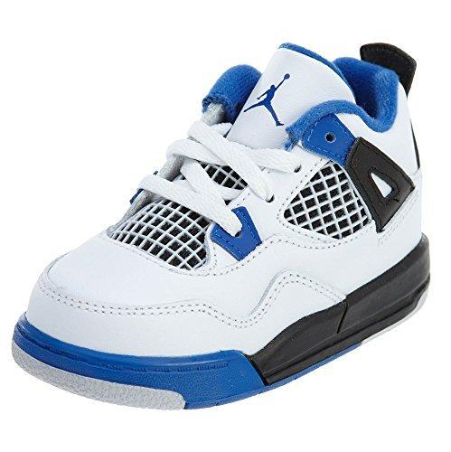 Jordan Retro 4 ''Motor Sports'' White/Game Royal-Black (Toddler) (6 M US Toddler) by Jordan