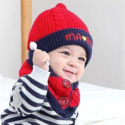 Kfnire sciarpa del cappello di inverno del bambino del ragazzo del neonato  unisex impostato per il regalo di compleanno di natale (beige)  Amazon.it   ... 2714610925fd
