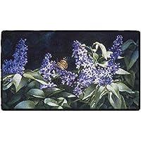 Brumlow Mills EW10284-20x34 Sunshine and Lilacs Floral Rug, 18 x 210, Purple, Black, Green