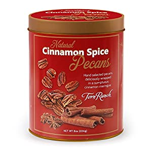 Cinnamon Spiced Pecans Gift Tin | Natural, Non-GMO and Kosher | Flavored Nuts | Gift Nut Tin | Product of USA