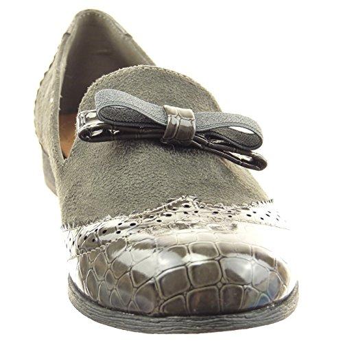 Sopily - Scarpe da Moda Mocassini ballerina alla caviglia donna nodo pelle di serpente perforato Tacco a blocco 2 CM - Grigio
