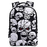 HANRUI Personalized 3D Skull Studded Casual Travel Laptop Backpack School Bookbags (White skull)