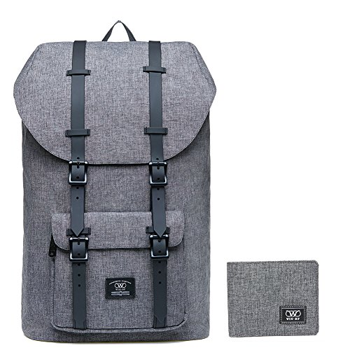 Laptop Outdoor Backpack, WIN·DF College Schoolbag Bookbag Travel Hiking Rucksack fits 15-Inch Laptop (Linen Grey[2PCS])