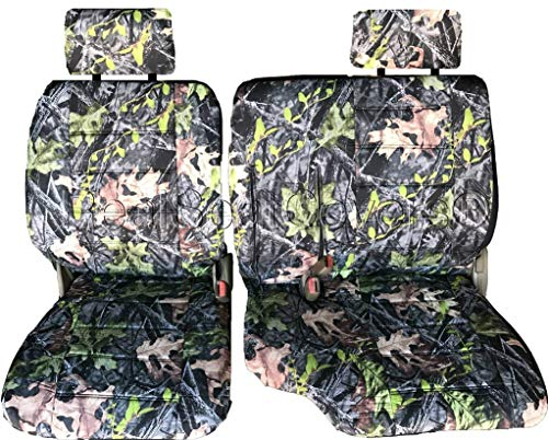RealSeatCovers for Front 60/40 Split Bench Adjustable Headrest Armrest Belt Cutout Custom Made Exact Fit Seat Cover for Toyota Tacoma 1995-2000 (Camouflage, Camo)