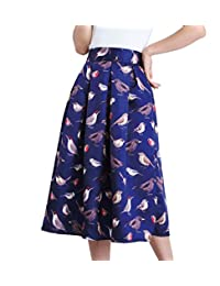 Afibi Women's African A-Line Print Knee Length Pleated Midi Skirt