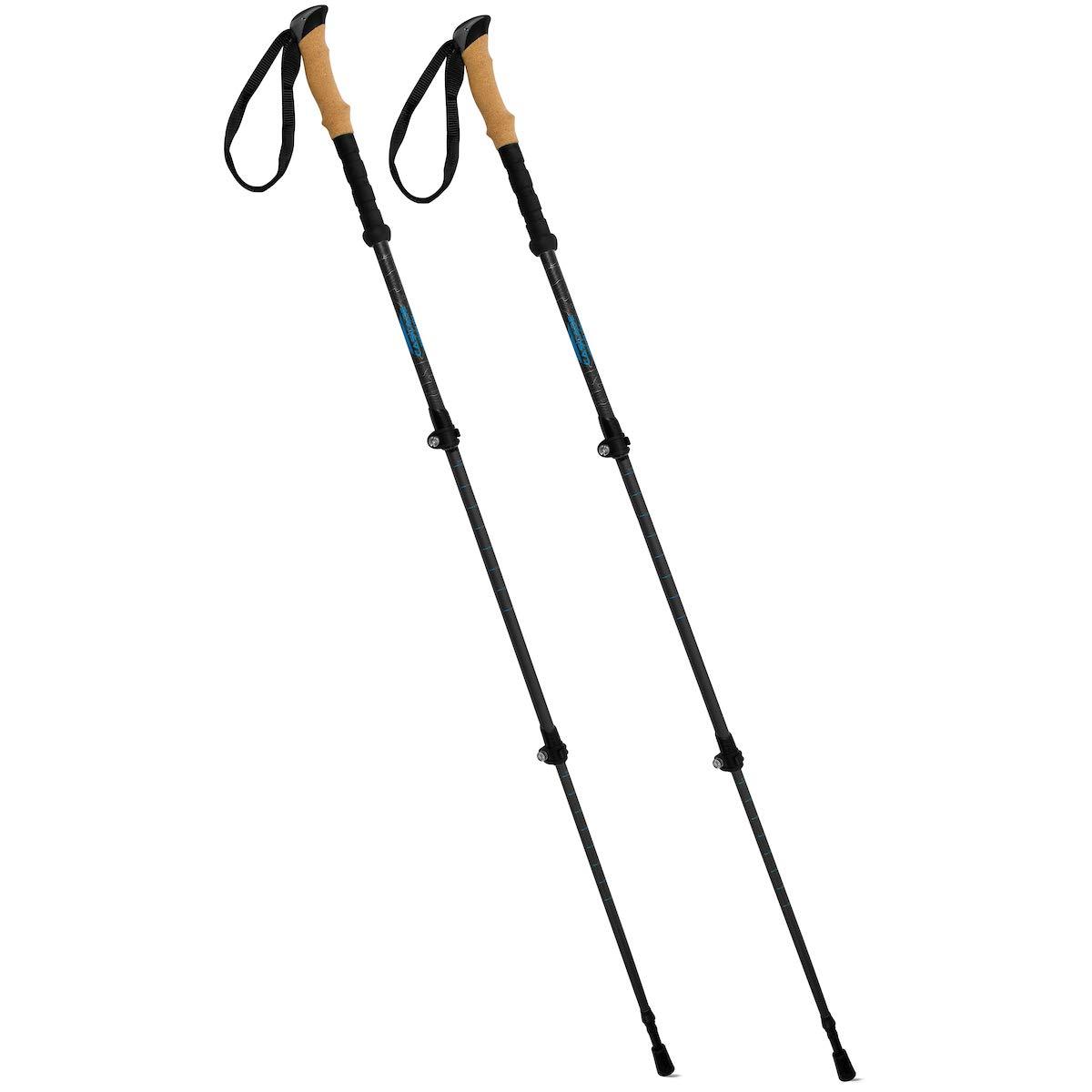 Lightweight Quick Lock Walking or Hiking Stick 1 Pair Cascade Mountain Tech Carbon Fiber Adjustable Trekking Poles 2 Pack