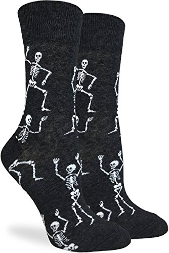 Good Luck Sock Women's Halloween Skeletons Socks - Black, Adult Shoe Size 5-9 -