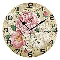 ALAZA Vintage Shabby Chic Rose Floral Round Acrylic Wall Clock, Silent Non Ticking Oil Painting Home Office School Decorative Clock Art