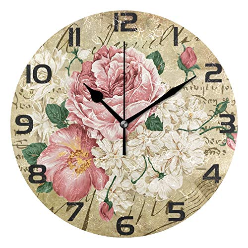 ALAZA Vintage Shabby Chic Rose Floral Round Acrylic Wall Clock, Silent Non Ticking Oil Painting Home Office School Decorative Clock ()