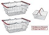 2 x Children's Kids Mini Chrome Shopping Basket Toys Role Play Food Presentation Box Wilsons Direct
