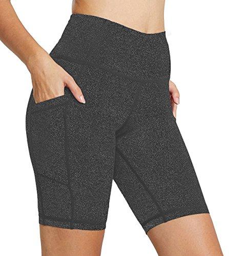 FIRM ABS Capri Shorts with Pockets,High Waist Running Workout Short Pants for Women Grey L