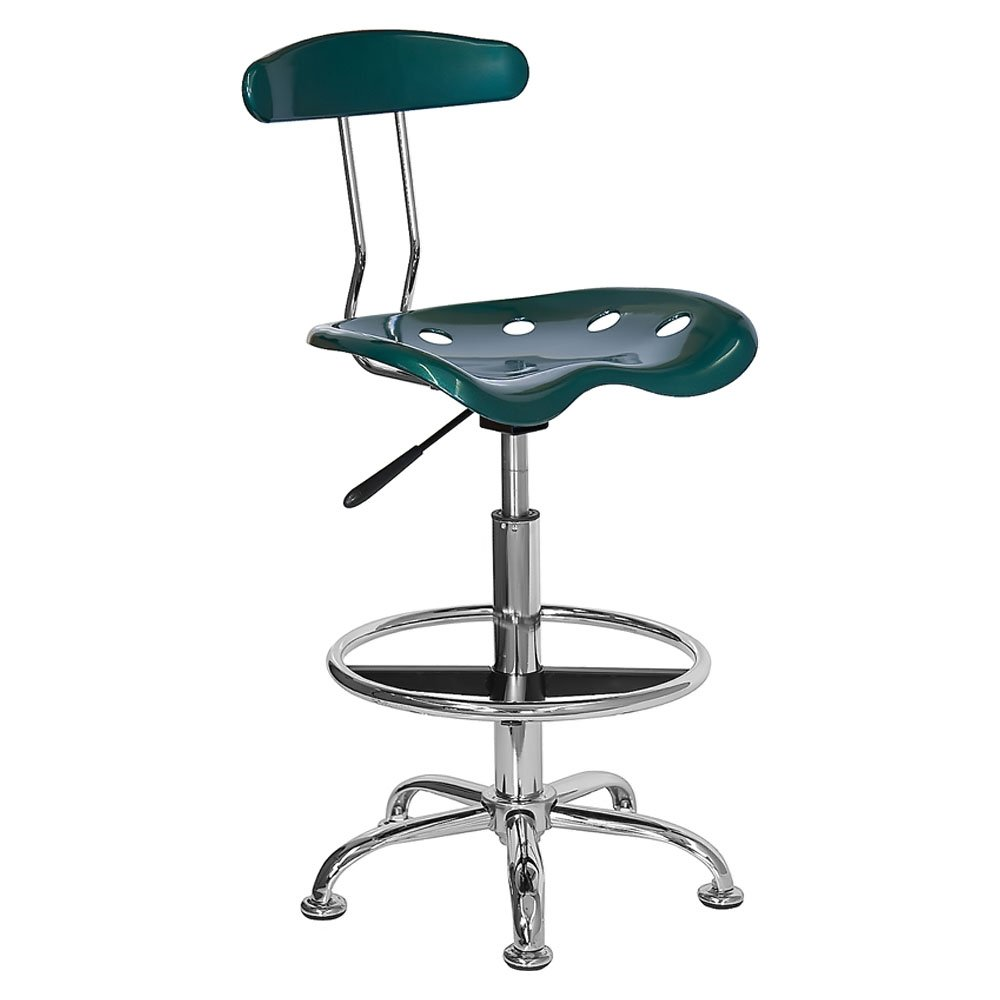 Offex Contemporary Sleek Vibrant Apple Green and Chrome Drafting Stool with Tractor Seat