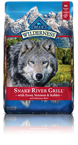 Blue Buffalo Wilderness Snake River Grill High Protein Grain Free, Natural Dry Dog Food with Trout, Venison & Rabbit 4-lb