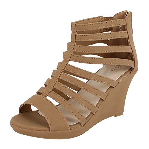 Womens Gladiator Bird Cage Strappy Wedge Sandal Oxford-Flats (7 M, Tan)