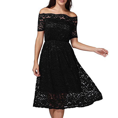 iFOMO Vintage Floral Lace Boat Neck Short Sleeve Cocktail Formal Bridesmaid Party Dress for Women Black-2 L