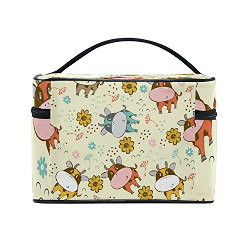Cute Cartoon Cow Pattern Print Portable Travel Makeup Cosmetic Bags Toiletry Organizer Multifunction Case