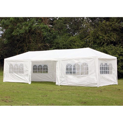 Cheap  Palm Springs 10 x 30 Foot White Party Tent Gazebo Canopy Sidewalls