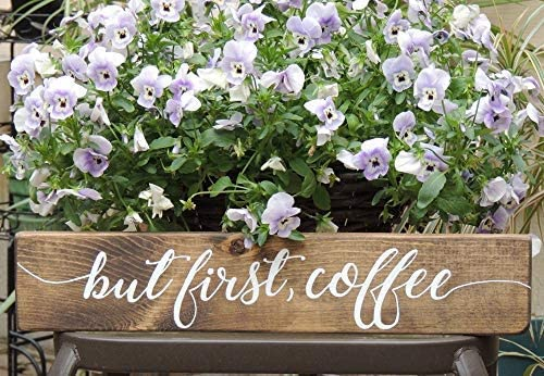 Brooer2ick Targa da Parete in Stile Rustico con Scritta But First Coffee Lingua Inglese