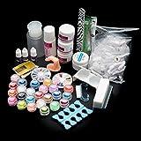 Yoyorule 22 Acrylic Nail Art Tips Powder Liquid Brush Glitter Clipper Primer File
