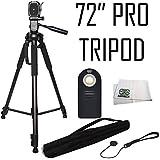 "Pro 72"" Tripod 3-way Panhead Tilt Motion w/Bubble Level + Wireless IR Shutter Release + MORE for Nikon D3300 D3400 D5300 D5500 D5600 D7200 D7500 D610 D700 D750 D810 D810A D850 P900 P610 P530 Cameras"