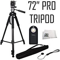"Pro 72"" Tripod 3-way Panhead Tilt Motion w/ Bubble Level + Wireless IR Shutter Release + MORE for Nikon D3300 D3400 D5300 D5500 D5600 D7200 D7500 D610 D700 D750 D810 D810A D850 P900 P610 P530 Cameras"