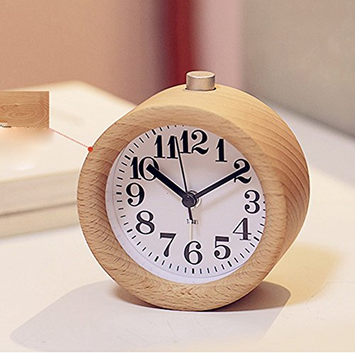 Hyun times Bedroom Real Wood Student Creative Alarm Clock Bedside Clock Mute Child Watch Personality Lazy Night Light Small Alarm Clock ( Color : Beech )