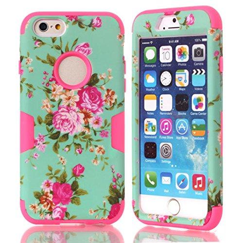 iPhone 6s hülle, iPhone 6 hülle, Lantier Hybrid Heavy Duty Rugged Hard Case mit harter PC + Innen Silikon Shell Shockproof Abdeckung für Apple iPhone 6 / 6S 4,7 Zoll (Blume Pink)