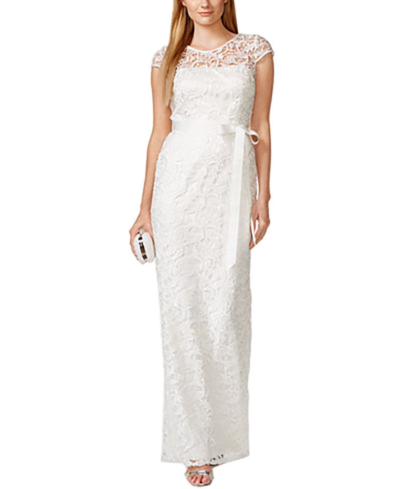 Adrianna Papell Cap-Sleeve Illusion Lace Gown (4, Ivory) at Amazon ...