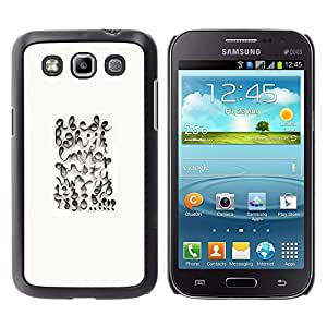 Caucho caso de Shell duro de la cubierta de accesorios de protección BY RAYDREAMMM - Samsung Galaxy Win I8550 I8552 Grand Quattro - Calligraphy Design White Abc