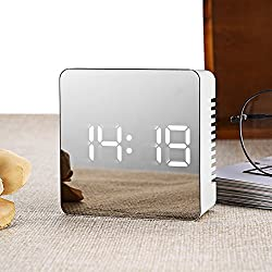 Najer LED Digital Alarm Clock, Slick and Innovative Design Mirror Clock Temperature & Time Display Morning Clock Desk Clock for Home and Office
